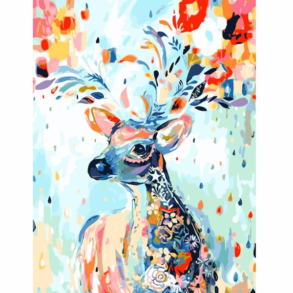 diy paintings by numbers Colorful deer animal Retro coloring pictures by numbers on canvas for the hall poster
