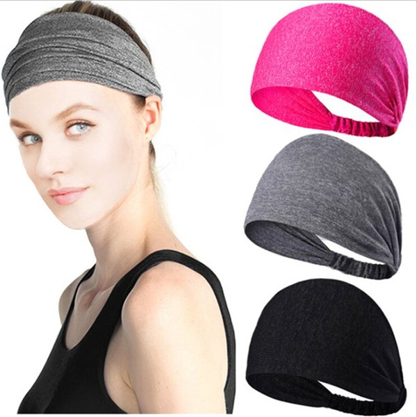 Fashion Wide Sports Headbands Stretch Elastic Yoga Running Cycling Headwrap Hair Band Sweat-absorbent Headscarf for Ladies 10 Colors