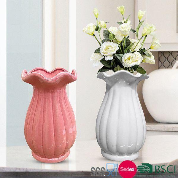 12*12*20cm Ceramic Flower Vase Lovely Jardiniere Home Decoration Ceramic Vases Lacework Flower Holder