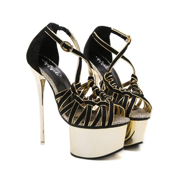 16cm summer fashion ladies black gold strappy hollow out high heels platform shoes women summer sandals black size 34 to 40