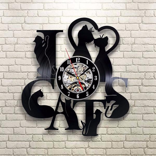 3D Vinyl Rekorde Uhr Kunststoff Schwarz Ich Liebe Katze Form Wanduhren Cartoon Schöne Mute Zeitmesser Hohe Qualität 65 mdb BW