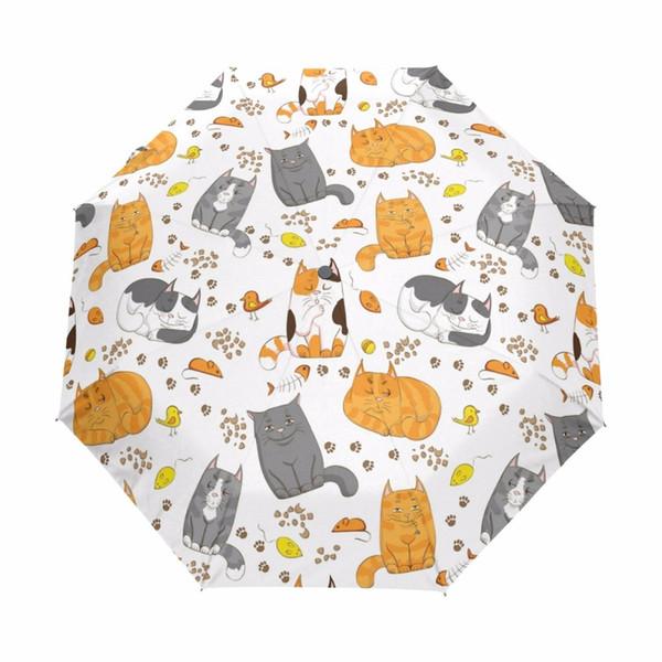 Cartoon Cute Ombrello For Gift Chinese Sun Umbrella 3 Folding Umbrella Anti UV Outdoor Travel Sonnenschirm Full Autumatic