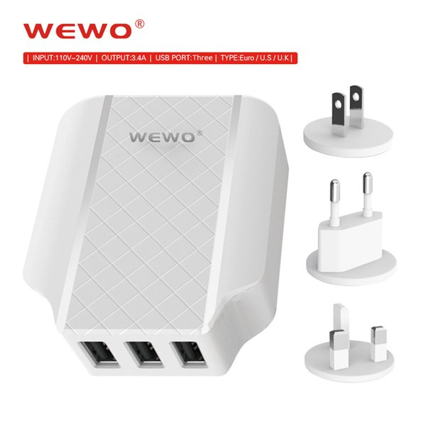 3.4A Fast Chargers US EU EK Plug 3 Ports USB Wall Charging Mobile Cell Phone Charger for iPhone 8 X Samsung iPad