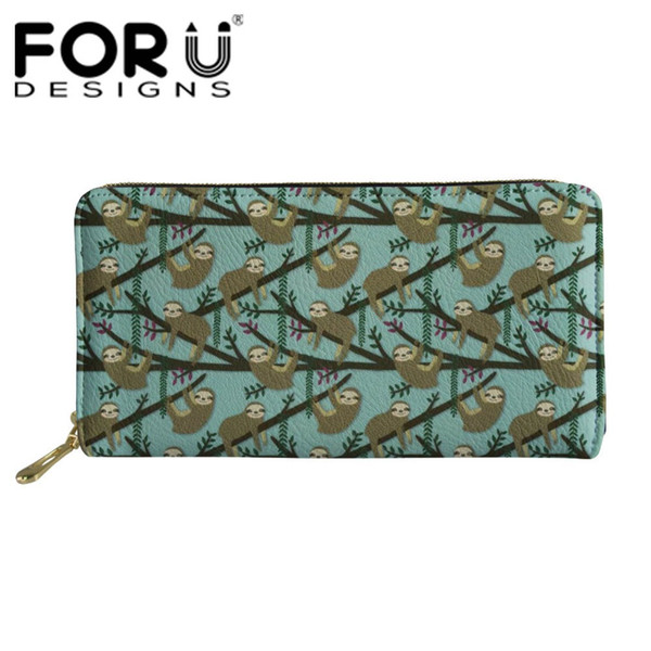 FORUDESIGNS Women Long Wallets Coin Purses Female Function Money Clutch Bags Ladies Cartoon Cute Floral Sloth Pattern Wallets