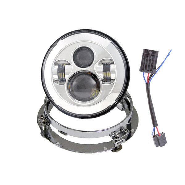 "Set of Round 7"" LED Projector Headlight With Silver Iron Mounting Bracket Ring for"