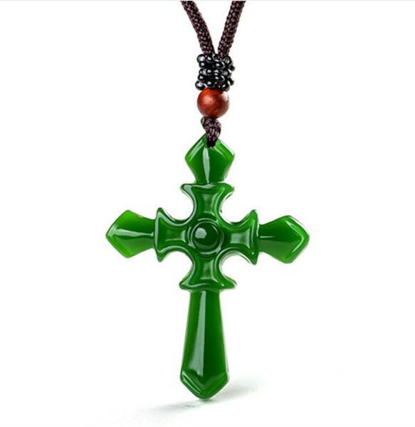 Certified 100% Natural Hetian/Afghan Jade Carved Cross Pendant Necklace Charm Jewelry/Jewellery Amulet Lucky