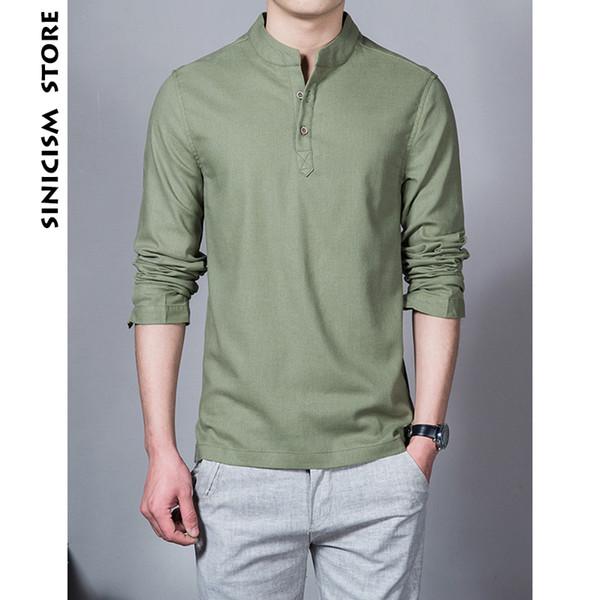 Sinicism Store Coton Lin Hommes Chemises Homme À Manches Longues Solide Couleur Stand Col Chinois Vêtements Mâle Grand Taille Casual Chemises
