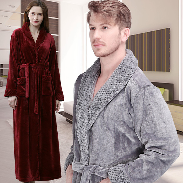Men Winter Extra Long Thick Warm Shawl Collar Bath Robe Mens Thermal Flannel Bathrobe Male Peignoir Homme Coral Fleece Nightgown