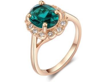 Romantic Women fashion jewelry diamond gold plated Austrian Crystal ring bride wedding marriage Christmas festival gift love