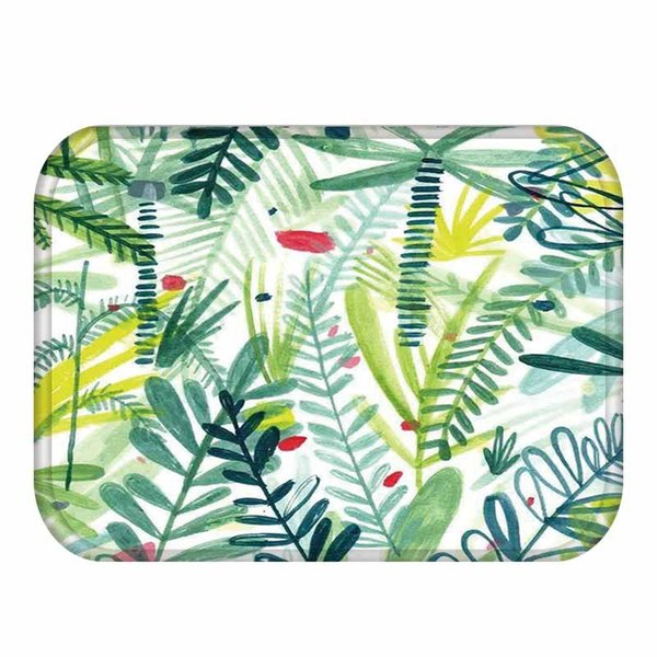 Tropical Green Leaves Pasillo Alfombra de noche Alfombras Alfombras Soft Flannel Antideslizante Entrada Felpudo de interior Baño Cocina Alfombrillas