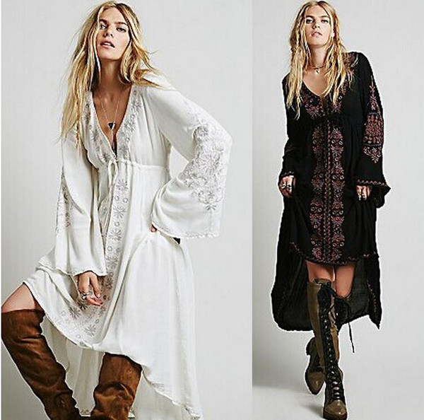 Wholesale- Long Dress Women Vintage Ethnic Flower Embroidered Cotton Tunic Casual Long Dress Hippie Boho People Asymmetric Maxi Dress