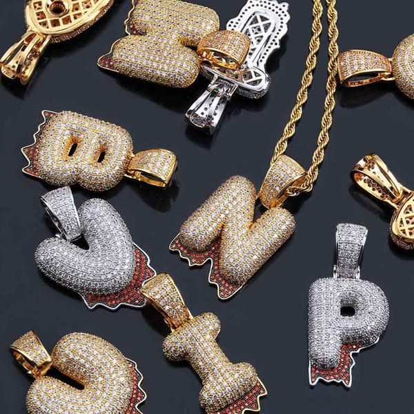 642672e1995eb Wholesale New A Z Custom Bubble Blood Drip Letter Pendant Necklace Charm  For Men Women Gold Silver Color Cubic Zircon Hip Hop Jewelry Single Diamond  ...