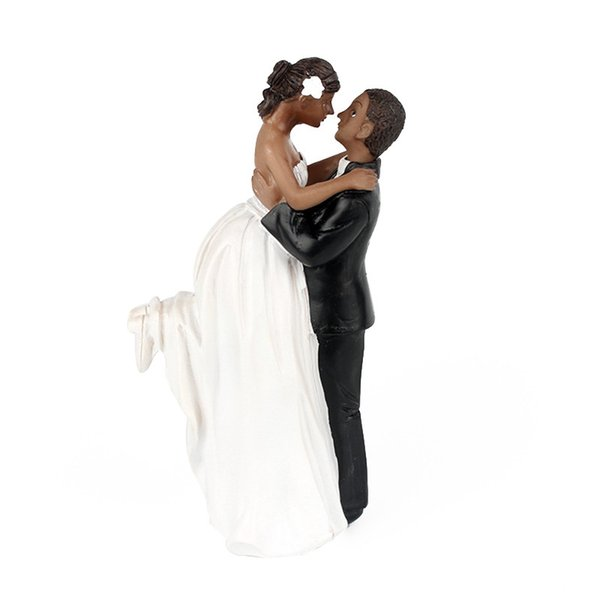 African American Romance Wedding Anniversary Cake Toppers Couple Happy Bride and Groom Wedding Party Cake Decoration Home Supplies