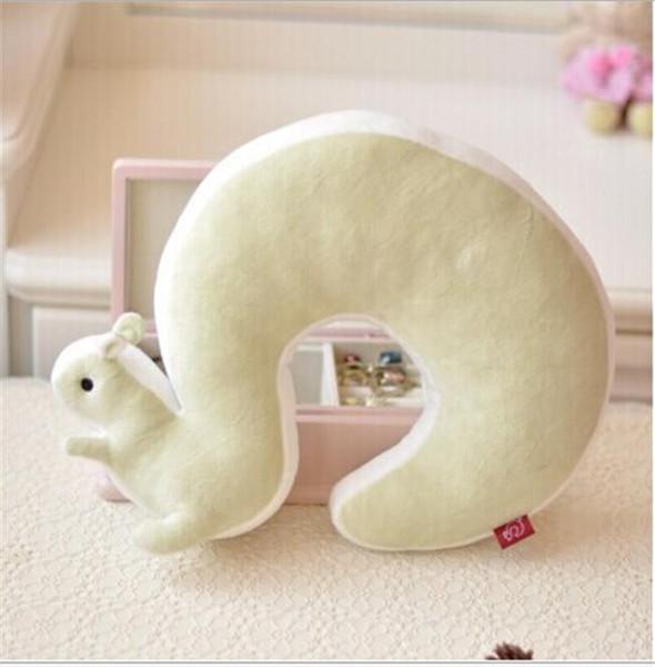 Wholesale- New Cute Novelty Squirrel Animal Cotton Plush U Shape Neck Pillow Travel Car Home Pillow Nap Pillow Health Care EJ871584