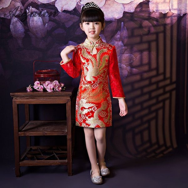 Enfants Qipao Robe Courte En Satin Broderie Rouge Phoenix Manches Longues Robes De Soirée Chinoise Mini Cheongsam Enfants Qi Pao