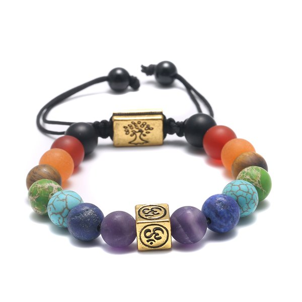 Handmade Tibetan Silver Bracelet Life Tree 7 Chakra Beads Reiki Buddha Prayer Natural Stone Yoga Bracelet