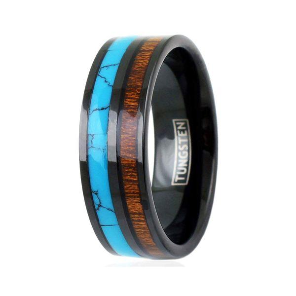 Engraved Elegant 8mm Black Flat Band Tungsten Wedding Band Turquoise Koa Wood Inlays