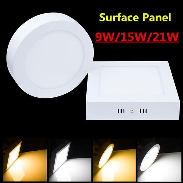 Kısılabilir 9W 15W 21W Ledli Panel lambası DownlightS Tavan IŞIKLARI Yuvarlak / Kare Yüzey montajı Delik Açmak Gerekmiyor AC 85-265V + Led Sürücü