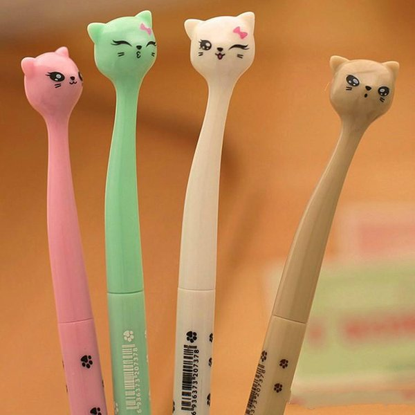 2019 Hot sales 4 Colors 0.5mm Cute Plastic Black Ink Gel Pen Cartoon Cat Pens For School Writing Office Supplies Stationery Favors