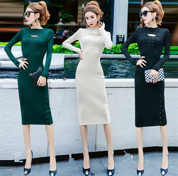 2019 Autumn Winter European and American Women Long Sleeved Rivet Waist and Sexy Long Knitted Long Dress A0073