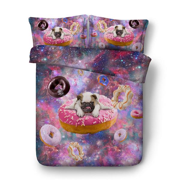 3D galaxy dog duvet Cover sets bedding set Bedspread Holiday Quilt Covers Bed Linen children kids peacock sheep comforter cover pillow shams