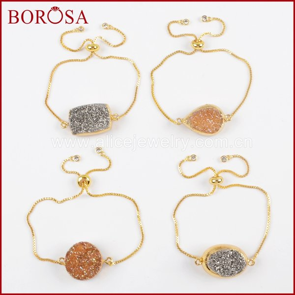 BOROSA 5/10PCS Gold Color Double Sided Titanium Silver Champagne Druzy Adjustable Bracelet Drusy Bangles Jewelry for Women G1527