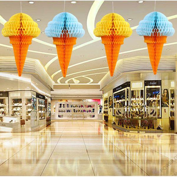 10pcs/lot Big size Ice Cream Honeycomb Balls Cellular Balls Paper Flower Party Wedding Decorations Shop window decoration