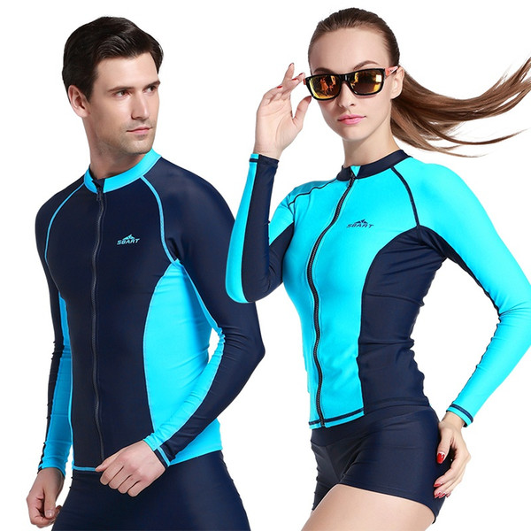 c7ba9944445f1 Couples Long Sleeve Swim RashGuard Shirts UPF50 Anti-UV Rash guard Top With  Zipper Men
