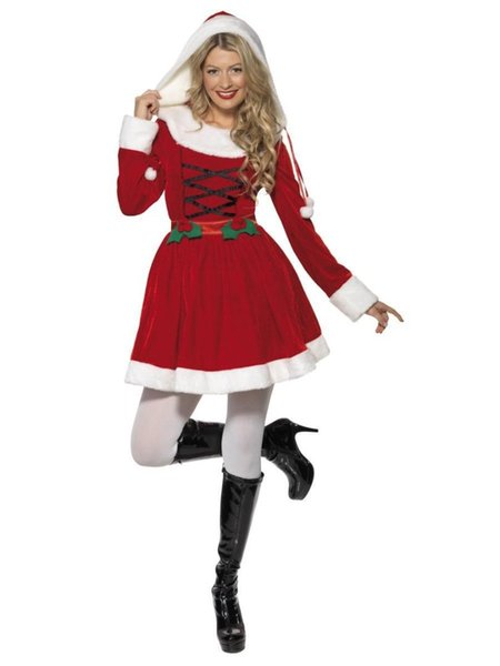 Christmas sexy costume women Xmas white/red santa hooded fancy dress Stage performance role play costumes party cosplay dresses