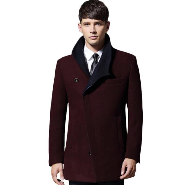 2018 Mens Winter Wollmantel für Männer Slim Fit Fashion Jacken Mens Casual warme Oberbekleidung Jacke Mantel Pea Coat Plus Größe XXXL