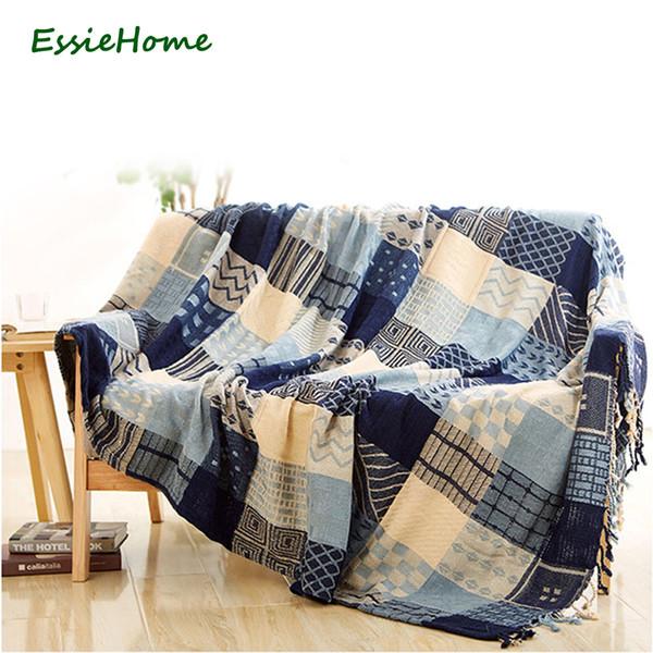 ESSIE HOME Sofa Decke Chenille Blau Beige Plaid Bohemia Für Sofa Wohnzimmer  Schlafzimmer Teppich Weiche Bettdecke