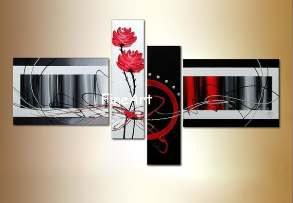 hand painted 4 panels abstract flower wall painting contemporary art oil paintings art canvas abstract modern office wall decor big canvas a