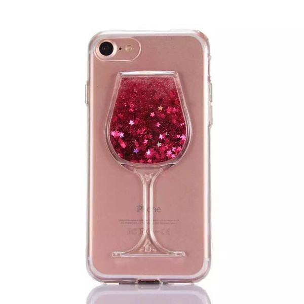 Fashion Luxury Xmas Rose Wine Glass Cocktail Bottle Quicksand Liquid Glitter Bling PC 3D Dual Phone Case Cover For iPhone 6 6S 7 8 Plus X