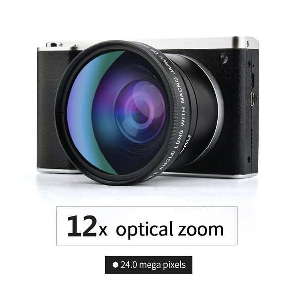 """Lightdow 4.0"""" IPS Touch Screen 24MP 12X Optical Zoom Full HD Professional Digital Camera Video Recorder with 52mm Wide Angle +Macro Lens"""