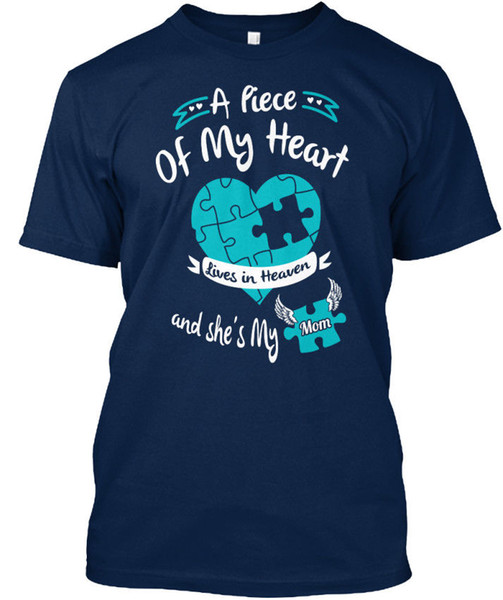 My Mom Is A Piece of Heart Lives In Heaven and She's T-shirt Élégant Tees Shirt Men Man's Great Custom Short Sleeve Valentine's XXXL Family