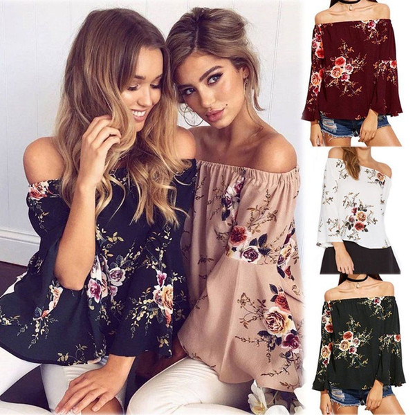 top popular Womens Casual Off Shoulder Floral T-Shirt Flared Sleeves Blouse Loose Tops Sexy Ladies Off Shoulder Wear Shirt Top 5colors FFA142 20PCS 2019