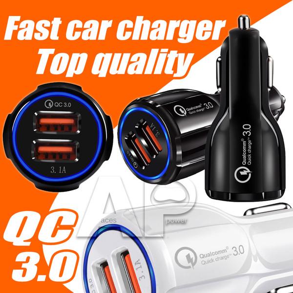 Alta calidad 9V 2A 12V 1.2A QC3.0 Carga rápida del coche completo 3.1A Dual USB Cargador de teléfono de carga rápida