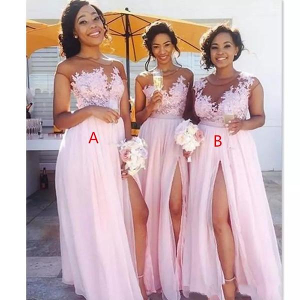 top popular 2021 cheap Chiffon blush pink Bridesmaid Dresses Appliqued Illusion Bodice Sexy Split Summer Black Women Maid Of Honor BM0146 2021