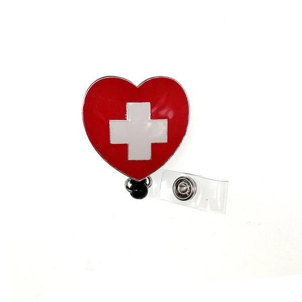 Nouveau Design Rétractable Rouge Émail Croix Infirmière Médicale Carte D'insigne Badge Bobine Décoration de Bijoux