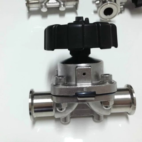 top popular 3PCS DN10 Sanitary Fitting Stainless Steel Diaphragm Valve Clamp Type 2021