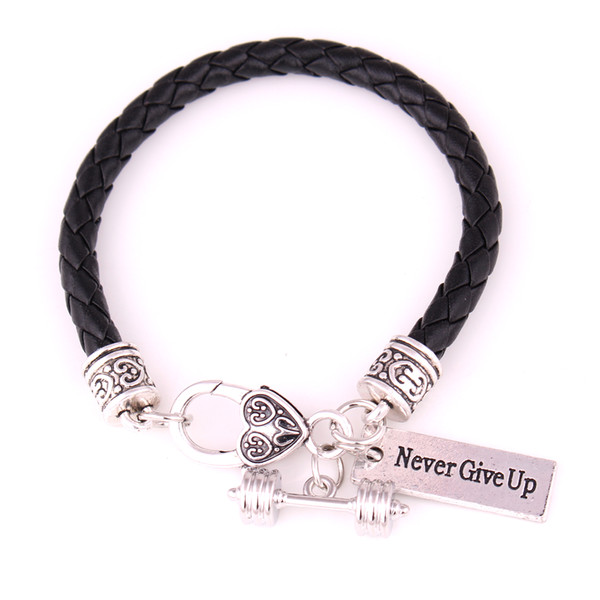"""Black and white Leather Braided Cross Fit Weight Lifting Fitness Dumbell Barbell Charm Bracelet """"Never Give Up"""""""