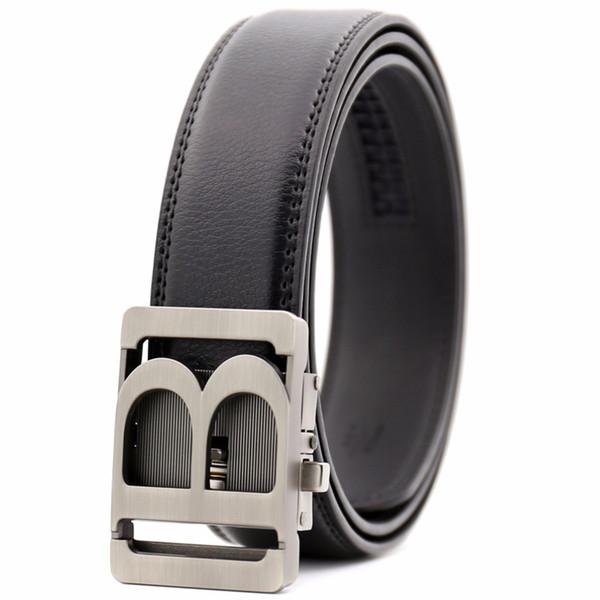 Cinture firmate KAWEIDA New Arrivals per uomo 2018 hollow B Cintura fibbia automatica in metallo con cinturino in vera pelle per uomo
