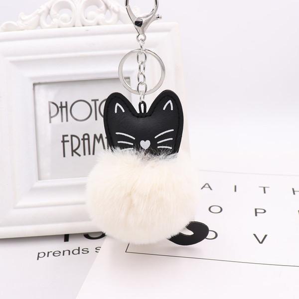 Rabbit Fur Ball Key Chain Black Cat Head Doll Keychain Animal Pompom Car Keyring Snow Fur Key Holder Pendant Charm Jewelry YSZ