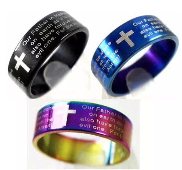 25 pcs Anglais Seigneurs Prière Croix Anneaux En Acier Inoxydable Mens Bijoux Croix Bible Anneau Bague Amoureux Anneaux