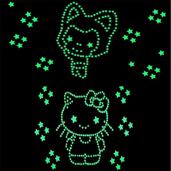Environmental Colorful Stars Luminous Fluorescent Wall Stickers Decal Glow In The Dark Kids Bedroom Home Decor 100pcs/Set