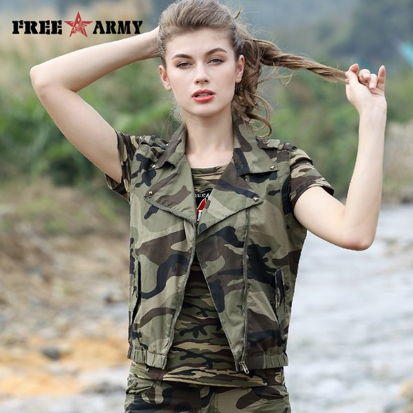 831cbd81e991 Free Army New Fashion Women Vest Spring Summer Sleeveless Camouflage Cotton  Short Outerwear Waistcoat Pocket