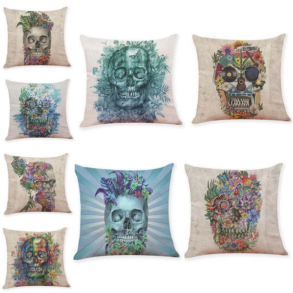 Novelty Skull Head Linen Cushion Covers Home Office Sofa Square Pillow Case Decorative Pillow Covers Without Insert(18*18Inch)