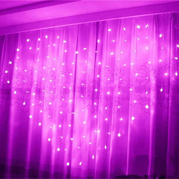 Tenda a strisce a forma di cuore LED fata Light 2M * 1.5M 124 Leds San Valentino di Natale Natale decorazione della ghirlanda della finestra di festa di nozze