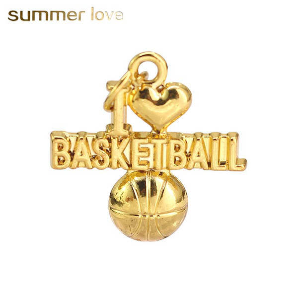 New fashion unique I Love Basketball pendants for necklace bracelets special sliver gold sports jewelry charm for diy making 2018