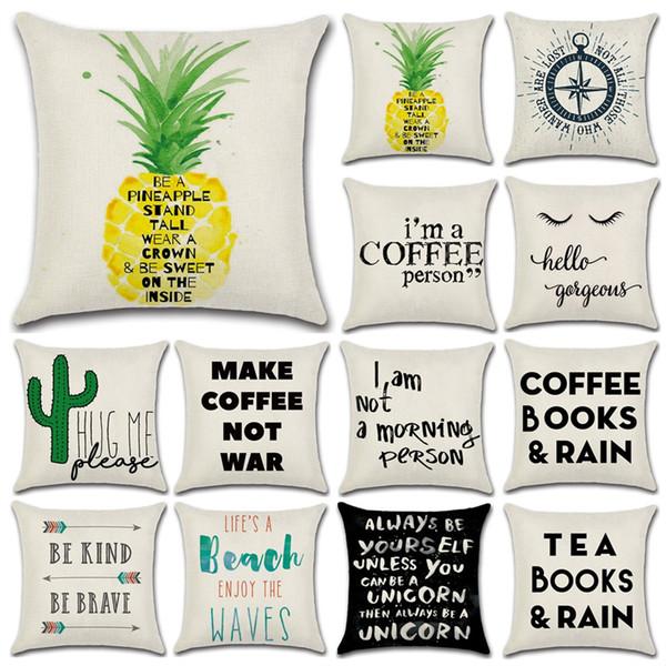 Home Cushion Covers Cotton Linen Black White English Words Pillow Cover Sofa Bed Nordic Decorative Pillow Case Almofadas 45x45cm